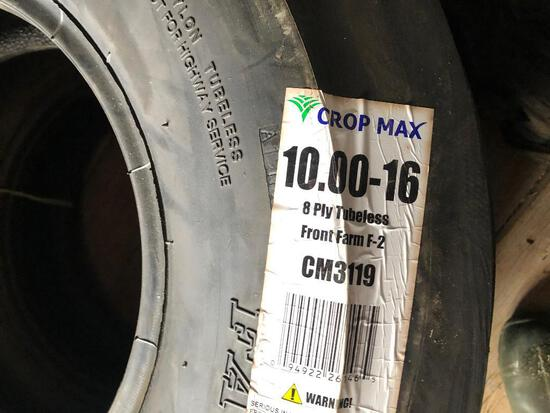 (2) New 10.00-16 3 rib front tires 8 ply