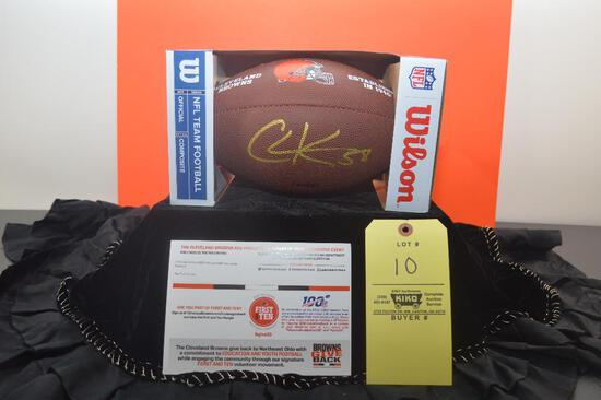 Signed Browns footbal by Christian Kirksey