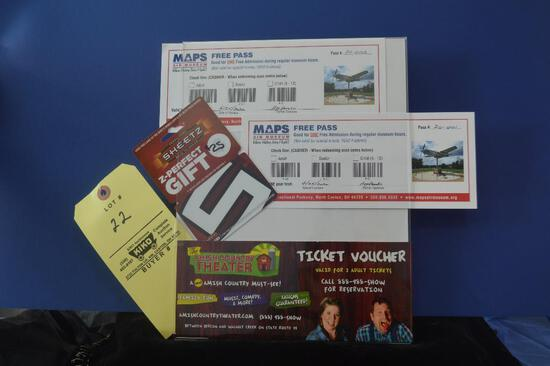 Two tickets to Maps Air Museum, Two tickets to Amish Country Theater & Sheetz Gas Card