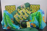 Children's camp chairs, sleeping bags, beach towels and soccer ball