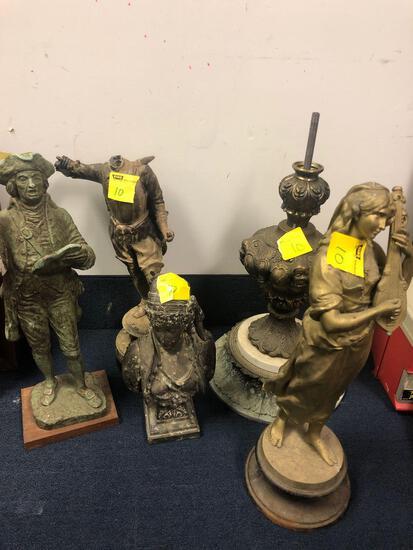 Metal figurines, started, lamp