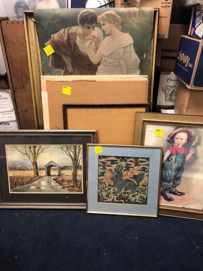 Framed artwork, framed, art on canvas, etc.