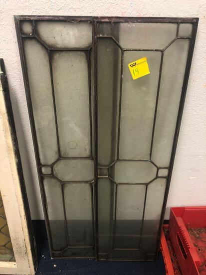 2 metal lead glass windows