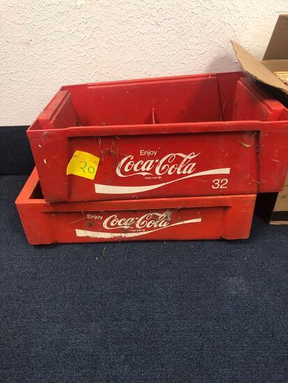 2 plastic Coca-Cola beverage crates