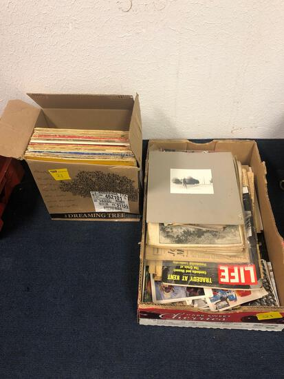Box of record albums and box of vintage magazines and paper items