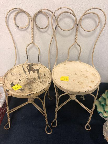 2 ice cream parlor chairs