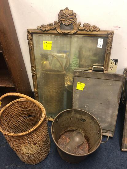 Wall mirror, basket with advertising, metal bucket, griddle pan