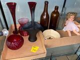 Vintage Bottles, Dolls, Glassware