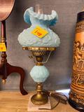 Fenton Blue Satin Poppy Lamp