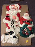 2 vintage Santa Claus plastic decor hangings
