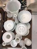 Milk glass vases, bowls, lamp shade, dishes, etc