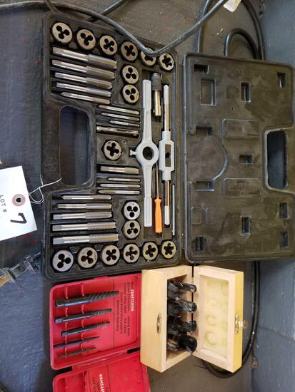 Tap and die set, shaping bits, concrete bits