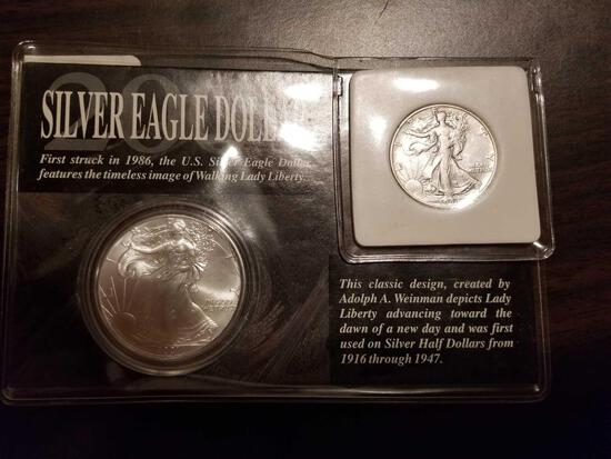 2001 Silver Eagle and 1944 Walking Liberty set