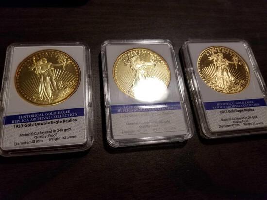 1933, 1933, and 2011 Gold Eagle replica coins, bid x 3