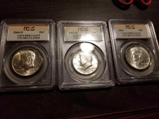 1964 Kennedy halves, bid x 3