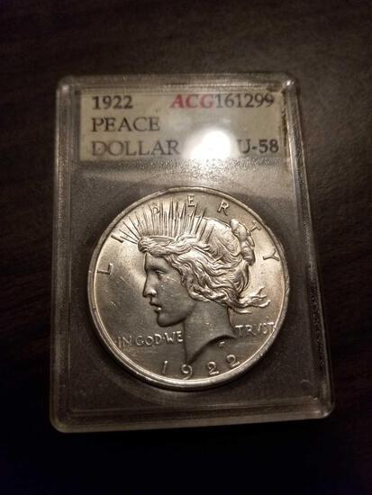 1922 Peace Dollar, AU-58