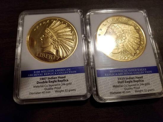 1907 and 1929 indian head replica coins, bid x 2