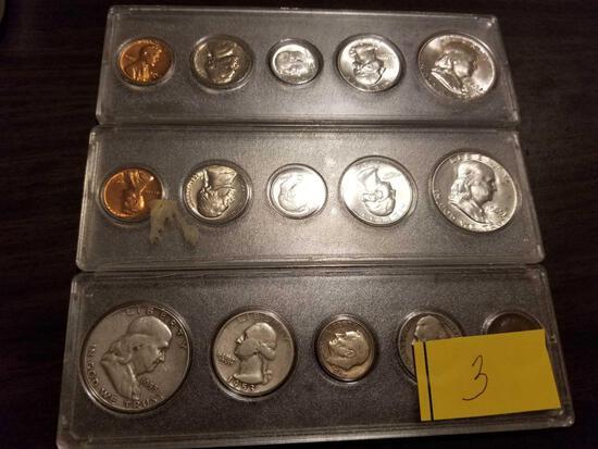 (3) Franklin silver half proof sets, 1953, and (2) 1963, bid x 3