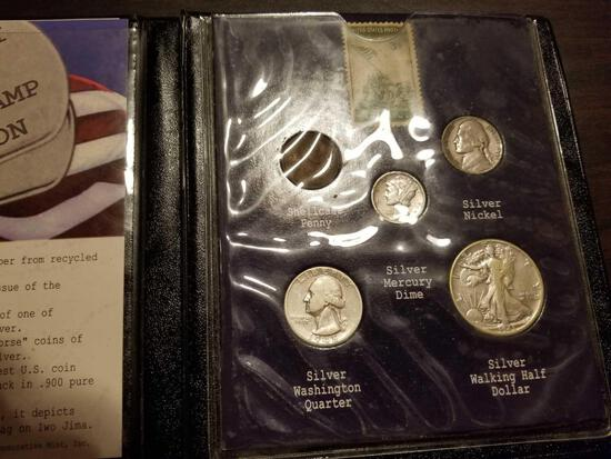 1945 Silver mint set, WWII victory coin and stamp