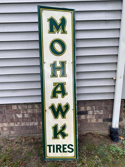 Mohawk Tires metal sign, 17 x 71.