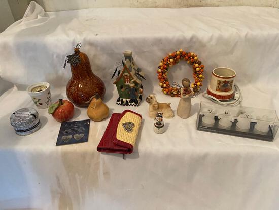 Figurines, ladies wallet, salt & pepper, snowman pillbox, candles, ghost tea lights, etc.