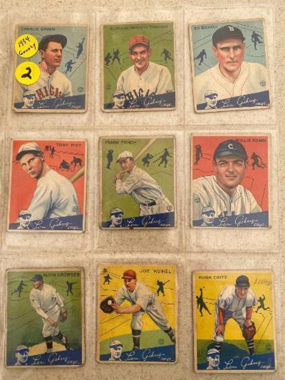 (20) 1934 Goudey baseball cards.