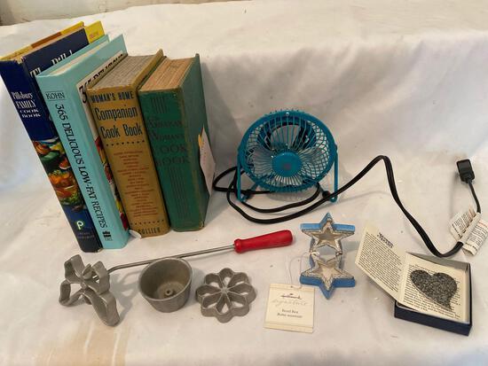 (4) Cookbooks, electric fan, Wendell August heart pin, Hallmark star pillbox, etc.