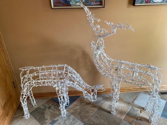 (2) Lighted deer yard ornaments.
