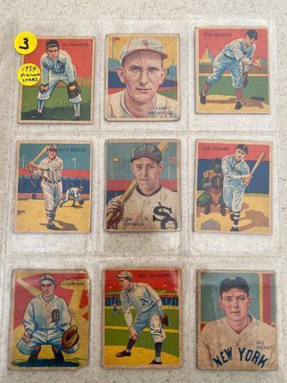 (16) 1934 Diamond Stars baseball cards.