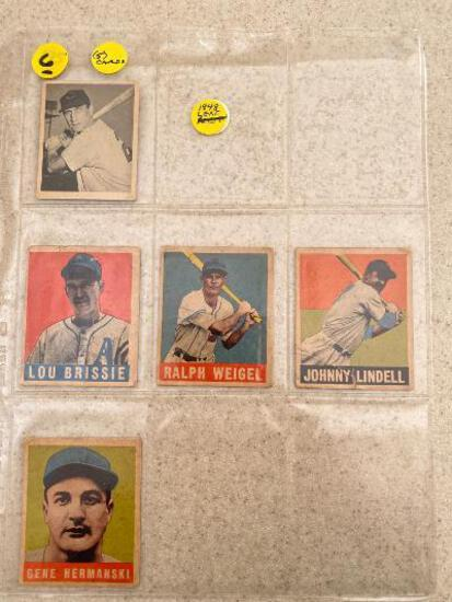 (5) 1948 Leaf baseball cards.