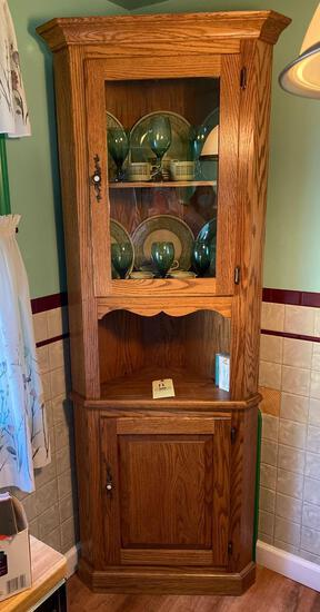 Oak 2 piece Corner Cabinet