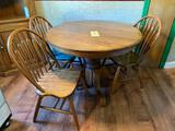 Oak Pedestal Table and 3 Chairs