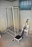 Bissel feather wet sweeper, stepladder, stool and clothes racks.