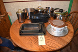 Pots and pans, baking items, roaster.