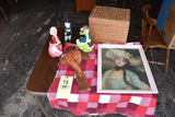Red block color Throw blanket, figurines, picture, carved wooden box.