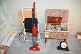 Dirt Devil swift stick, stepladder, sewing box, mantle clock.