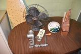 arly Banner Fan, meat grinder, knives, bowl
