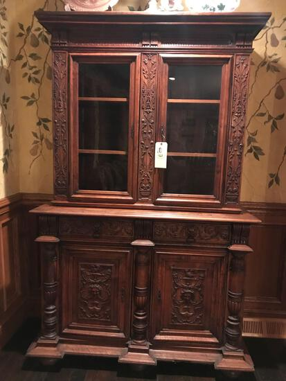 Two pc heavily carved china hutch
