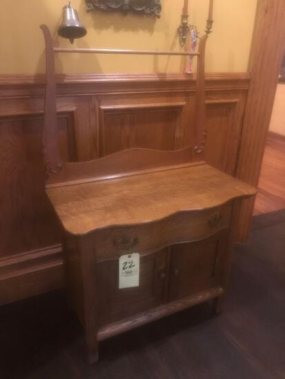 Antique Oak Wash Stand W Towel Bar