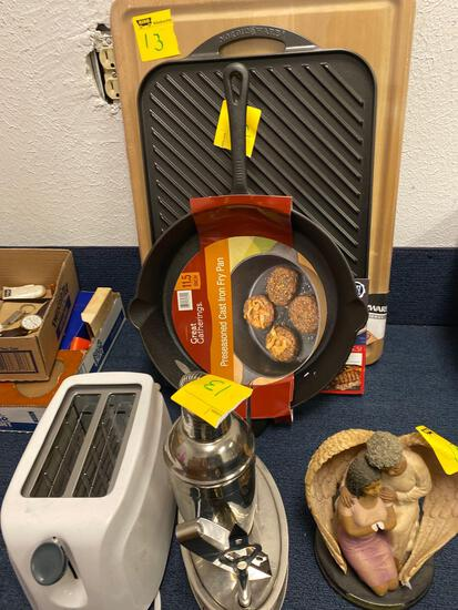 Toaster, cocktail set, cast iron pan new, Nordic ware griddle, farberware cutting board, angel