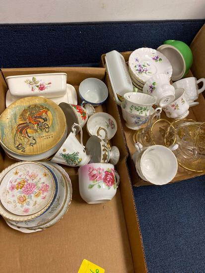2 flats dishes, China, Royal Albert, hall, 1907 receipt framed, misc. framed and 2 Halloween