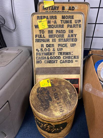 Charles chips can, tecumseh signs, 2
