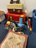 Fishing items, 2 kid poles, tackle box, Craftsman tool chest, Craftsman saw