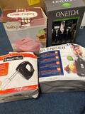 Oneida flatware new in box, magic chef hand mixer, cupcake maker, mini blender