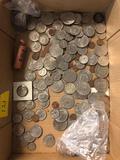 Half dollars, quarters, pennies, various dates, etc