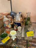 Bottles and Stein, glassware, Hummel candles