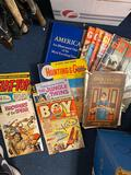 Ballet box vintage empty, 3 bags of happy meal toys, electric wok missing cord, old books, magazines