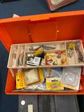 Old Plano tackle box large black one full of tackle items,and tackle box