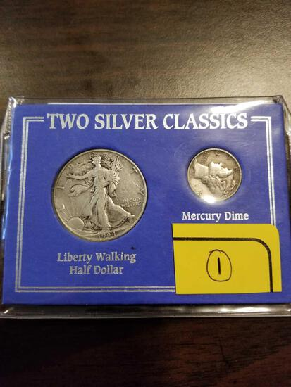 1944 walking liberty half and mercury dime