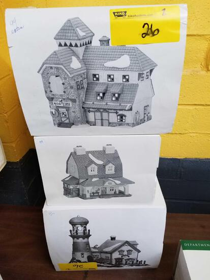 Dept 56 New England Village Van Tassel Manor, McGrebe Cutters and Sleighs, Pigeonhead Lighthouse